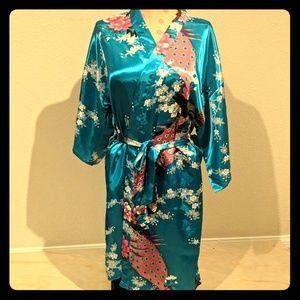 Other - Floral Satin Kimono Short Bridesmaid Robe
